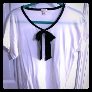 J. Crew White Blouse with Black Bow